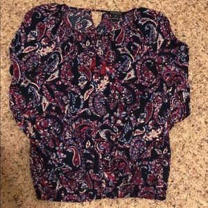 Lucky Brand XS Paisley Print Peasant Top